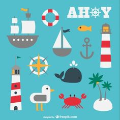 Listings (out of Exclusive free vectors by Freepik Nautical Design, Nautical Theme, Nautical Clipart, Beach Illustration, Summer Icon, Affinity Designer, Bd Comics, Free Vector Graphics, Diy Party Decorations