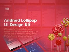 The Android Lollipop UI kit created with Sketch app. It contains 45 useful elements. Created by Jerry Cao.
