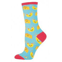 Bring back memories of childhood meals with these Mac N Cheese Women's Novelty Socks from Socksmith. These graphic print women's crew socks have smiling cheese and macaroni pieces set against a bright