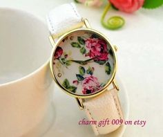 Multicolor optional Flowers leisure watches women by Charmgift009, $7.99