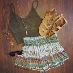 Zoe Knit Crop Top - Olive Summer outfit | ☼ Follow @callmeleslie for more ☼