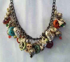 Charm Trinket Necklace Free Ship 25 Inch Black Chain by okiemarket, $35.00