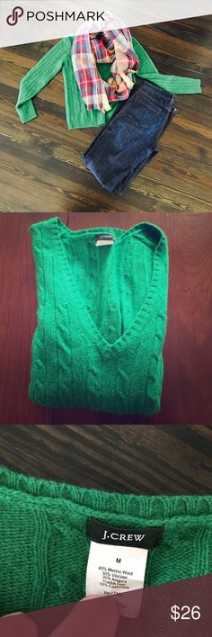 J. Crew Kelly Green V neck Cable Knit Sweater J. Crew Kelly Green V neck Cableknit  Sweater. See fabric content on tag. Merino Wool, Angora, Cashmere and Viscose.  Styled with J. Crew jeans which are available in separate listing. Size Medium.  Make me an offer 😉 J. Crew Sweaters V-Necks