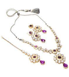 Purple Stone Embellished Necklace Set #indianroots #ethnicwear #necklaceset #stone #embellished #occasionwear