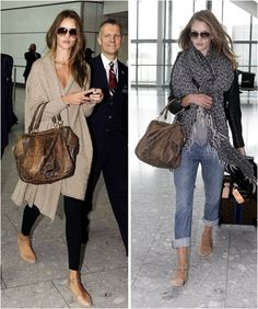 Left Picture: gray sleeveless gray sweater with black leggings and flats, aviator sunglasses.