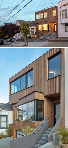 This wood covered modern house has a subtle angled facade that fits in with the setbacks of the houses next door, and features stained clear cedar vertical boards that alternate with blackened spacer boards, while aluminum windows have clear cedar casings. The planters and walls have been made from cast-in-place concrete.