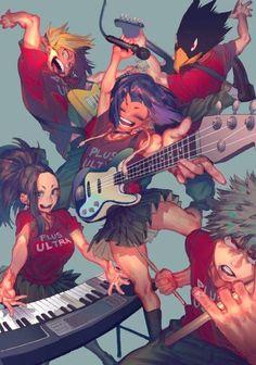 My Hero Academia - Kaminari, Yaoyorozu, Jirou, Tokoyami & Bakugou Boku No Hero Academia Funny, My Hero Academia Episodes, Buko No Hero Academia, My Hero Academia Memes, Hero Academia Characters, My Hero Academia Manga, Anime Characters, Kirishima My Hero Academia, Manga Anime