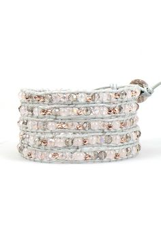 Silver Sheen and Rose Gold Quartz Crystal Wrap Bracelet on Grey Leather | Talulah Lee