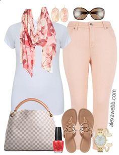Plus Size Pastel Pink Jeans - Plus Size Fashion for Women - alexawebb.com #alexawebb