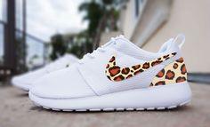 Womens Custom Nike Roshe Run sneakers, cheetah print, animal print design, trendy fashion design, cute womens shoes