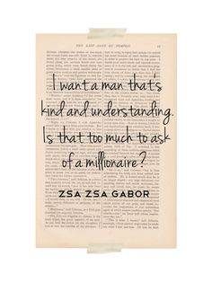 Sounds reasonable to me Zsa Zsa