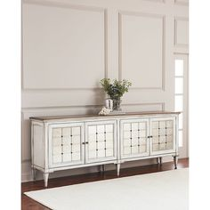 Hooker Furniture Lakin Eglomise Entertainment Console (16,730 MYR) ❤ liked on Polyvore featuring home, furniture, storage & shelves, eglomise furniture, mirrored glass furniture, hooker furniture console, mirrored console and handcrafted furniture