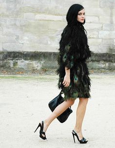 bd24aa58722e9 Peacock feather dress with black. Leigh Lezark always looks amazing. From  Jak   Jill.