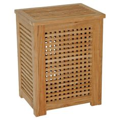 Perfect for laundry in your master suite or toys in the playroom, this openwork teak wood hamper brings natural style to your decor.