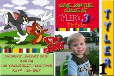 Custom Tom and Jerry Birthday Party Invitations DIY Printable File