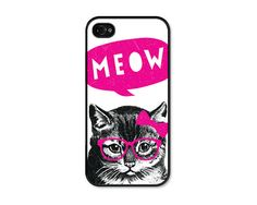 Cat Apple iPhone 4 Case - Plastic iPhone 4 Cover - Funny iPhone 4 Skin - Neon Pink Black Fluorescent Mustache Glasses Bow Phone, via Etsy.