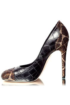 Giambattista Valli Dark Brown Pumps with Snakeprint Elements 2012 Fall Winter #Shoes #Heels