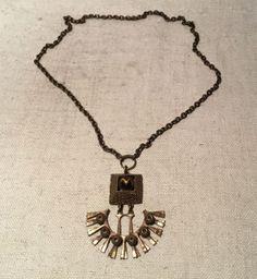Pentti-Sarpaneva-Vintage-Mid-Century-Modern-Bronze-amp-Tigers-Eye-Necklace