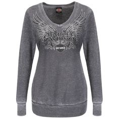 ༻✿༺ ❤️ ༻✿༺ Harley-Davidson Womens Beyond Flight V-Neck Burnout Pullover Charcoal Sweatshirt ༻✿༺ ❤️ ༻✿༺ Motorcycle Style, Motorcycle Outfit, Biker Style, Motorcycle Fashion, Harley Davidson Womens Clothing, Harley Davidson Gear, Harley Apparel, Biker Chick, Pullover