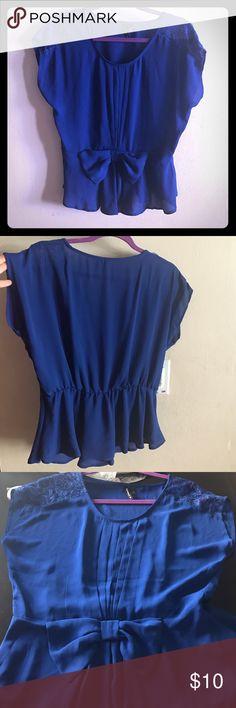 Blue lace on shoulder top Nice royal blue dress shirt Tops Blouses