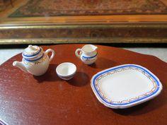 DOLLHOUSE MINIATURE ARTISAN PORCELAIN STOKESAY WARE TEA SERVICE   eBay