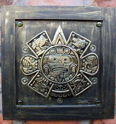 Piedra del Sol - Reprodução em latão do centro do calendário Asteca.