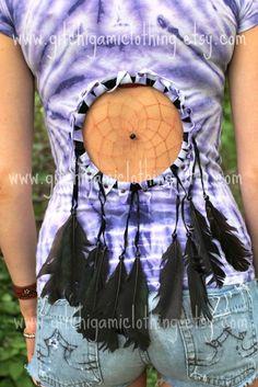 Native Dreamcatcher Cut Out Tie Dye Festival Fringe Hippie Shirt. $35.00, via Etsy.