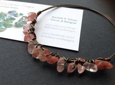 Rose Quartz Bracelet // Wire Wrapped Jewelry // Handmade // Salty Sparrow Designs on Etsy, $12.00