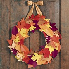 Fall Leaf Wreath Kit Create a handsome paper wreath celebrating autumn foliage to hang on your door or use as a centerpiece. Kit makes: one wreath measuring approximately in diameter Preschool Decor, Housewarming Party, Craft Night, Hello Autumn, Diy Kits, Fall Crafts, Fall Halloween, Autumn Leaves, House Warming