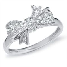 1/10 CT. T.W. Diamond Bow Ring in 10K White Gold - View All Rings - Zales $269