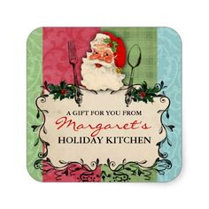 Create your next set of Vintage labels on Zazzle! Santa Christmas, Vintage Christmas, Christmas Gifts, Vintage Stationary, Holiday Essentials, Gift Labels, Christmas Stickers, Holiday Fun, Holiday Baking