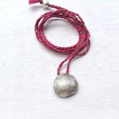 Nut Shell pendant Sterling silver pendant  Pink cord by CyKLu, $42.00