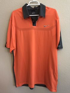 Tiger Woods Collection Mens Size XL Shirt Bright Orange Dri Fit Golf Polo  Nike  TigerWoods cbc32bce8