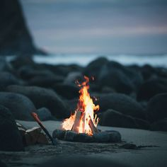 Bonfire by the beach - our favorite way to brave the arctic cold! doubleDandEJ