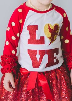 The Hair Bow Company - Valentine's Day LOVE Cupid Raglan with Red