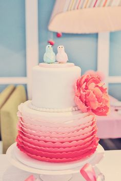 Ombre ruffle cake. Photography and Event Styling by Pineapple Studio. www.theweddingnotebook.com