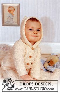 baby knit Hooded jacket and trousers in Rib in Safran. Blanket in Karisma Superwash ~ DROPS Design