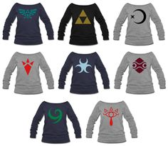 Zelda Symbols Womens Wideneck Sweatshirt S-XXL · Much Needed Merch · Online Store Powered by Storenvy would love the grey one with red skeikah symbol