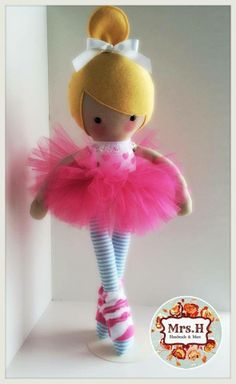 """My little Pop Princess Pacha with her pink tutu and leg warmers which are removable. She is 19"""" tall, CE marked and suitable from birth.Made from quality cotton fabrics, 100% wool felt and soft tulle."""