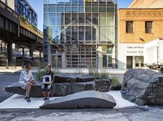entitled 'park erratica', the urban intervention foregoes the more mundane wooden bench, and is instead comprised of an assortment of large stone boulders.