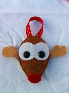 Felt Reindeer Ornament by feltloved on Etsy