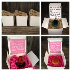 I love this idea for asking girls to be bridesmaids and flower girls, although i would have to find a way to make it country themed.