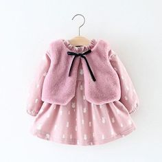2018 Winter Thick Warm Baby Girl Dress With Faux Fur Vest Long Sleeve Kids Dresses For Girls Clothes Pink Flannel Princess Dress Fashion Kids, Girls Winter Fashion, Winter Outfits For Girls, Kids Outfits Girls, Baby Girl Fashion, Toddler Fashion, Girls Wear, Baby Outfits, Baby Girl Dresses