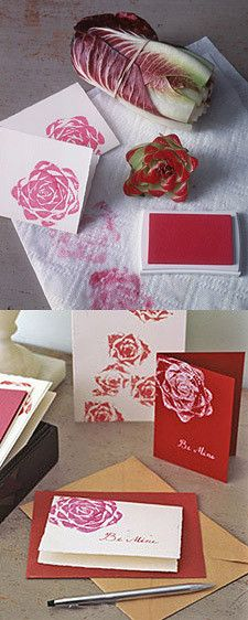 Stamp roses from veggies, for cards, wrapping paper, gifts to frame with a nice verse, and/or photo. incredible DIY