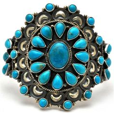 Turquoise Soul . . . Old Pawn Navajo Turquoise Cluster Sterling Silver Bracelet