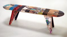 Bench made from recycled skateboard decks