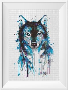 Watercolor Cross Stitch Pattern Wolf Animal Husky Printable