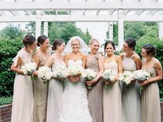 Neutral Amsale bridesmaids in soft neutrals | Nancy Ray Photography #wedding