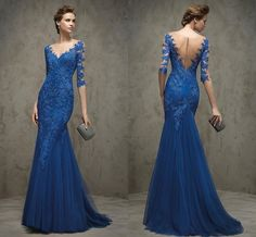 2016 Elegant Royal Blue Mermaid Evening Dresses Half Sleeves V Neck Appliques Lace Prom Party Dresses Tulle Floor Length Formal Gowns