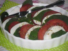 Sałatka caprese ze szpinakiem Caprese Salad, Mozzarella, Food, Meals, Insalata Caprese